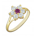14k Yellow Gold Women's Flower Ring with Round Red and White Cubic Zirconia