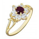 14k Yellow Gold Women's Flower Round Red White Cubic Zirconia Fashion Ring