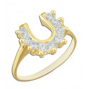 14k Yellow Gold Lucky Horseshoe Ring with Round White Cubic Zirconia