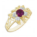 14k Yellow Gold Butterfly Red and White Cubic Zirconia Fashion Ring