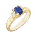 14k Yellow Gold Ring with Blue and White Cubic Zirconia