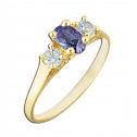 14k Yellow Gold Purple and White Cubic Zirconia Fashion Ring