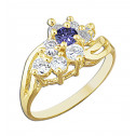 14k Yellow Gold Flower Ring with Purple and White Cubic Zirconia