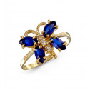 White Blue CZ 14k Yellow Gold Butterfly Women's Ring