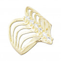 14k Yellow Gold Multi Channel Stone White Cubic Zirconia Fashion Ring