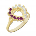 14k Yellow Gold Heart Ring with White and Red Cubic Zirconia