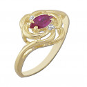 14k Yellow Gold Fashion Ring with White and Red Cubic Zirconia