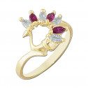 14k Yellow Gold Swan Ring with White and Red Cubic Zirconia