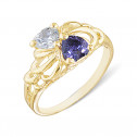 14k Yellow Gold Purple White Diamond Heart CZ Fashion Ring