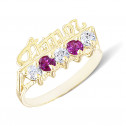 14k Yellow Gold Red White Channel Diamond CZ Amor Love Ring
