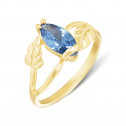 Womens 14k Yellow Gold Blue Marquise Diamond CZ Leaf Ring
