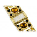 Gold Tone Stainless Steel Topaz Onyx CZ Bracelet Watch