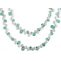 Cultured White Pearl Green Crystal Long Opera Necklace