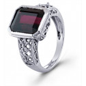 Emerald Cut Red Garnet 10k White Gold Solitaire Ring