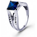 Princess Sapphire Solitaire 10k White Gold Diamond Ring