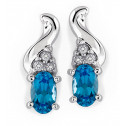 10k White Gold Blue Topaz 0.06 Ct Diamond Stud Earrings