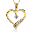 10k Yellow Gold 0.10 Ct Round Diamond Heart Necklace