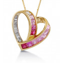 10k Yellow Gold Diamond Pink CZ Heart Slider Necklace