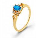 New Oval Blue Topaz 10k Solid Yellow Gold Diamond Ring
