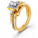 10k Yellow Gold 0.29ct Diamond Engagement Band Ring Set
