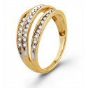 Triple Band Round 0.26ct Diamond 10k Yellow Gold Ring