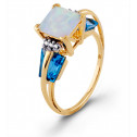 Square Opal Blue Topaz Diamond 10k Yellow Gold  Ring