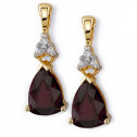10k Yellow Gold Garnet Teardrop Diamond Stud Earrings