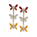 10k Yellow Gold Diamond Garnet Topaz Butterfly Earrings