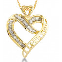 Solid 10k Yellow Gold Diamond I Love You Heart Necklace