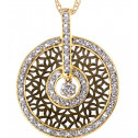 14k Solid Gold 0.25 Ct Round Diamond Pendant Necklace