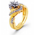 Women's 14k Solid Gold Round Diamond Engagement Ring
