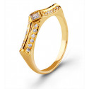 Women's 14k Yellow Gold Diamond Solitaire Accent Ring