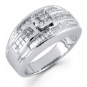 14k White Gold 1.0 Ct Baguette Princess Diamond Ring