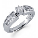 Womens 14k White Gold 1.00 Ct Princess Diamond Ring