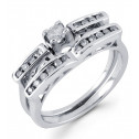14k White Gold 0.18 Round Diamond Wedding Ring Set