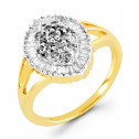 14k Yellow Gold 0.65 Ct Round Baguette Diamond Ring