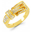 Solid 14k Yellow Gold Buckle 0.50 Round Diamond Ring