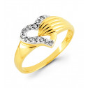 14k Yellow Gold Heart Hand 0.10 Ct Round Diamond Ring