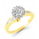 14k Yellow Gold 0.40 Ct Round Baguette Diamond Ring