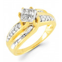 14k Gold 0.59 Ct Princess Baguette Round Diamond Ring