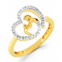 14k Gold Mother Child Heart 0.19 Ct Round Diamond Ring