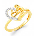 14k Gold Heart Mother Child 0.09 Ct Round Diamond Ring