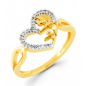 Mother Child Heart 14k Gold 0.14 Ct Round Diamond Ring
