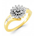 14k Yellow Gold 0.39 Ct Baguette Round Diamond Ring