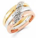 14k White Yellow Rose Gold 0.11 Ct Round Diamond Ring