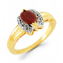 14k Yellow Gold Oval Ruby Crown 0.04 Round Diamond Ring
