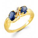 14k Gold Double Sapphire 0.04 Ct Round Diamond Ring