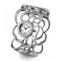 Ladies Wide Silver Tone Round CZ Fashion Bangle Watch