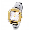 Ladies CZ Square Bezel Two Tone Fashion Bangle Watch