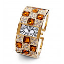 Ladies Gold Tone Round Square CZ Checker Bangle Watch